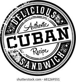 Vintage Cuban Sandwich Menu Stamp