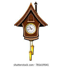 Vintage cuckoo clock. Vector.