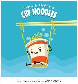 Vintage cup noodles poster design.