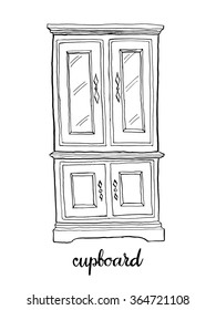 Vintage cupboard/ Vintage furniture/ Interior design elements/ Hand drawn ink sketch illustration isolated on white background
