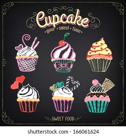 Vintage cupcake collection. freehand drawing