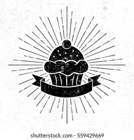 Vintage cupcake logo template with scroll on grunge background