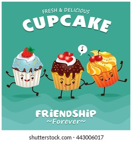 Vintage Cupcake poster design with vector cupcake character.