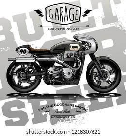 vintage custom cafe racer poster
