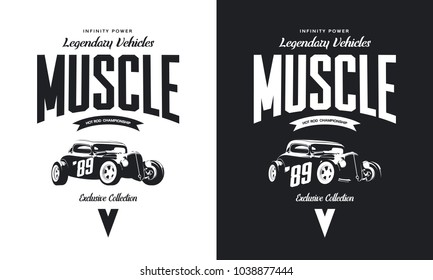 Vintage custom hot rod black and white tee-shirt isolated vector logo. Premium quality old sport car logotype t-shirt emblem illustration. American street wear hipster retro tee print design.