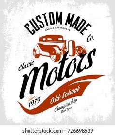 Vintage custom hot rod motors vector tee-shirt logo isolated on white background. Premium quality old sport car logotype t-shirt emblem illustration. Street wear superior retro badge tee print design.