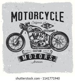 Vintage, custom motorcycle, bikers logo
