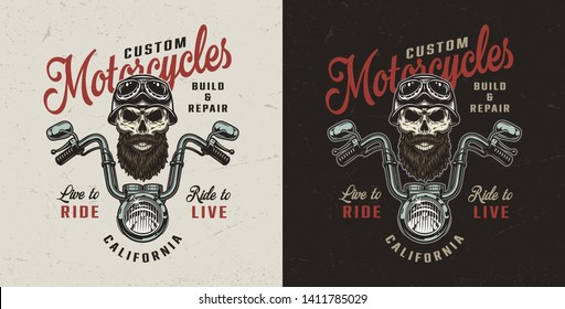 7519ba1beb Vintage custom motorcycle colorful logo with chopper front view and biker  skull in helmet and goggles