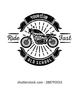 Vintage Custom Motorcycle Emblem, Badge, and Sticker in Black and White