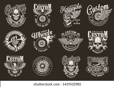 Vintage custom motorcycle emblems with motorcyclist skulls crossed wrenches motorbike eagle winged and fiery moto wheels on dark background isolated vector illustration