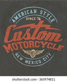 vintage custom motorcycle label. Original quality te print