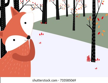 Vintage cute baby fox wolf smile happy in  romantic autumn forest jungle background pattern vector hand draw doodle art invitation Christmas card