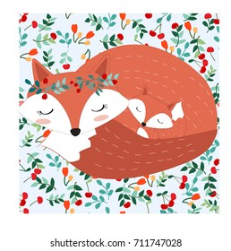Vintage cute lovely mother fox and son wolf cartoon seamless,pastel wild berry cherry romantic leaf, happiness adorable,background illustration vector,hand draw style doodle comic art,invitation card