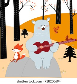 Vintage cute spring summer baby fox wolf and lovely big teddy bear cartoon playing guitar in romantic forest jungle autumn background pattern vector,hand draw doodle comic art illustration