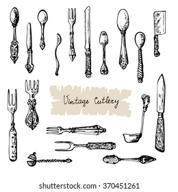 Vintage Cutlery. Hand drawn set ink drawing vector illustration. Contrast doodle sketch kitchen tools for food card and menu. Vector is EPS8.