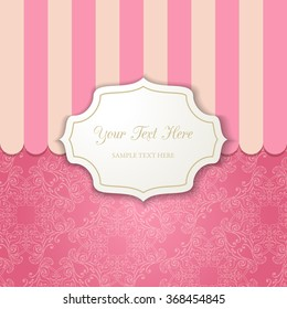 Vintage cutout frame with shadow on a striped pink background. Template for your design. Vector illustration EPS 10