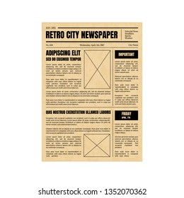 Vintage Daily Newspaper Template Sheet Old Style Design Include of Text, Column, Article and Advertising. Vector illustration