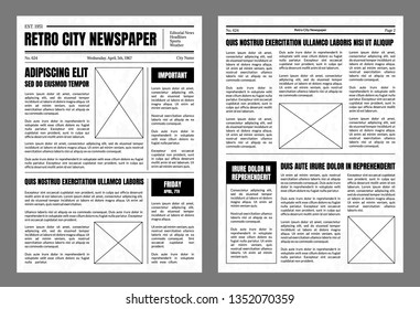 Vintage Daily Newspaper Template Sheets Set Old Style Design Include of Text, Column, Article and Advertising on a Grey. Vector illustration