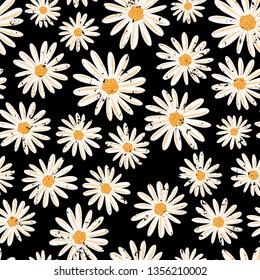 Vintage Daisy flowers seamless vector pattern. Distressed white Chamomile flowers on black background. Contemporary seasonal ditsy floral repeat tile. Hand drawn retro design for fabric, decor, paper