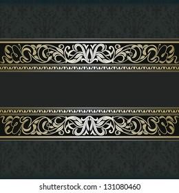 Vintage damask background, floral ornament frame, elegance design