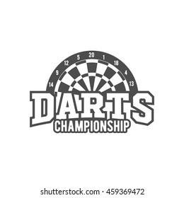 Vintage darts label, logotype, badge and design elements