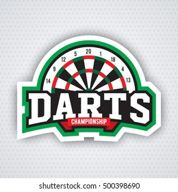 Vintage darts labels, logotypes, badges and vintage elements. . For sports design usage