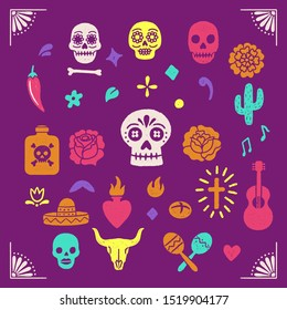 Vintage Day of the Dead graphics -Colorful illustrations for Dia de los Muertos. Hand drawn with vintage textures.
