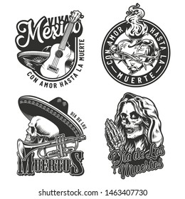 Vintage Day of Dead labels set with fiery heart in barbed wire, guitar trumpet skull in sombrero hat, dead woman head praying with skeleton hands with rosary isolated vector illustration