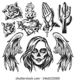 Vintage Day of Dead monochrome composition with roses heart shaped fiery bottle in barbed wire cactus angel wings praying hands with rosary dead woman head isolated vector illustration