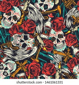 Vintage Day of Dead seamless pattern with sugar skulls rose flowers trumpets religious crosses candles in candlesticks tequila bottles cactuses vector illustration