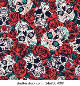 Vintage Day of Dead seamless pattern with sugar skulls and red roses vector illustration