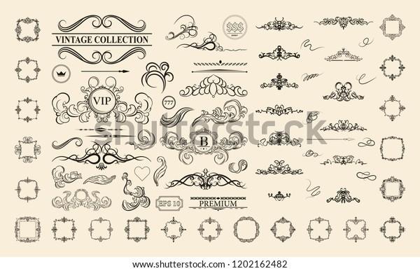 Vintage Decor Elements Wicker Lines Vector Stock ...
