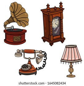 Vintage decoration elements set. Antiques. Gramophone, wooden wall clock, retro rotary telephone, lampshade.