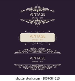 Vintage Decorations Elements. Flourishes Calligraphic Ornaments and Frames. Retro Style Design Collection for Invitations, Banners, Posters, Placards, Badges and Logotypes
