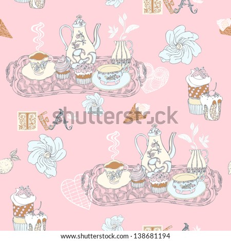 Vintage Decorative Background Tea Time Vector Seamless Pattern Colored Fabric Pink Wallpaper And