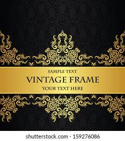Vintage decorative border in gold. Seamless background. Luxury design