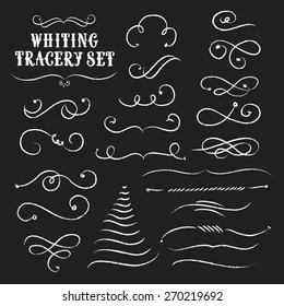 Vintage decorative curls and swirls collection on black background.Tracery chalk set. Hand drawn vector design elements