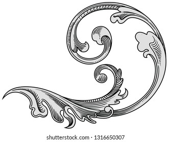 Vintage decorative design. Old antique elements. Beautiful vector decoration . Medieval decor. Vector line art ornament. Quality line art graphic engraving. Illustration isolated on white background