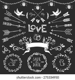 Vintage decorative elements with lettering. Hand drawn vector design wedding set.