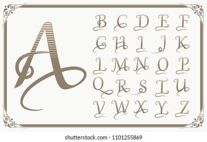 Old victorian letter images stock photos vectors shutterstock vintage decorative font for monograms or logo and label design with beautiful filigree retro letter altavistaventures Images