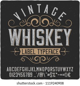 "Vintage decorative font named ""Whiskey"". Good handcrafted western typeface for labels, t-shirts, posters, greeting cards etc."