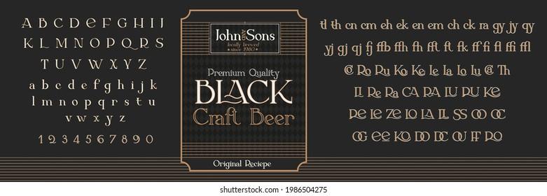 Vintage decorative font Offtime. Retro typerface. Elegance serif alphabet. Vector font for label, branding, tags, t-shirt, alcohol bottle.
