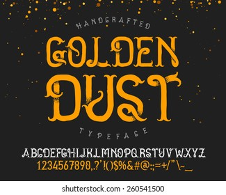 "Vintage decorative handcrafted font named ""Golden dust"""