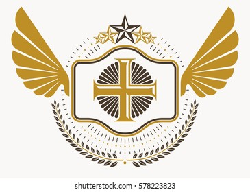 Vintage decorative heraldic vector emblem composed with eagle wings, Christian religious cross and pentagonal stars