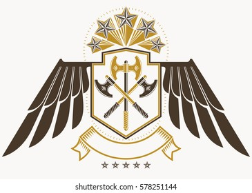 Vintage decorative heraldic vector emblem composed using eagle wings, hatchets and pentagonal stars