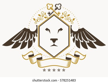 Vintage decorative heraldic vector emblem composed using eagle wings, wild lion illustration and pentagonal stars
