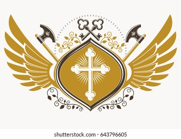Vintage decorative heraldic vector emblem composed with eagle wings, Christian religious cross and hatchets