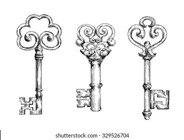 Vintage decorative keys with ornamental bows, adorned by swirls and forged elements. Sketch style