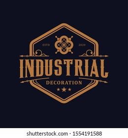 Vintage decorative luxury logo design, simple minimalist icon label emblem.