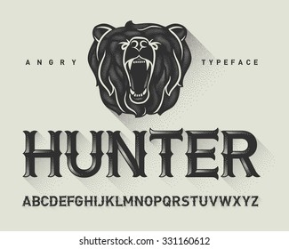 Vintage decorative modern font with dotted graphics and a wild angry bear head illustration